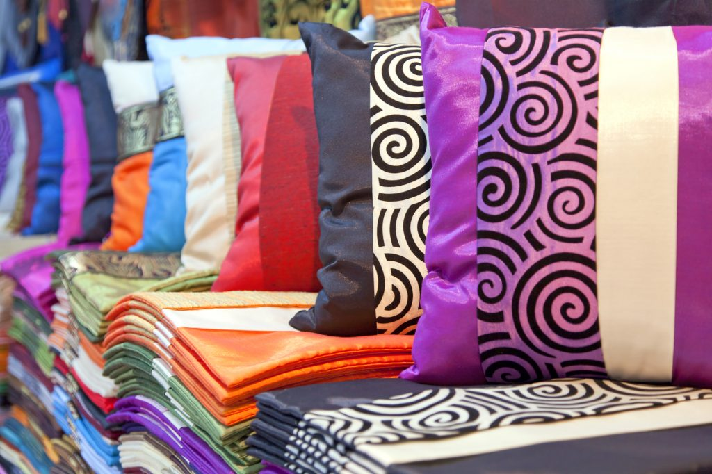 Silk fabric and cushions