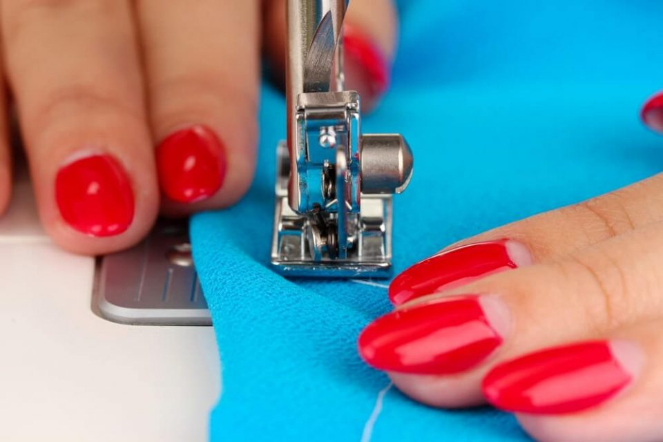 Hand sewing on machine